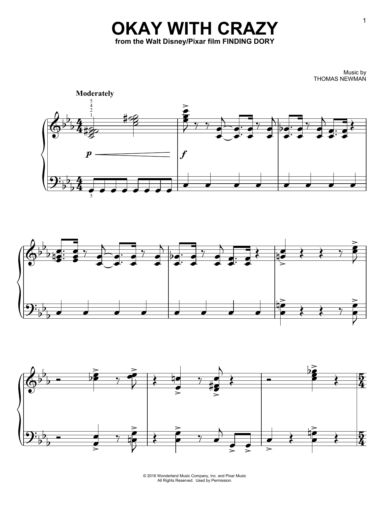 Download Thomas Newman 'Okay With Crazy' Digital Sheet Music Notes & Chords and start playing in minutes