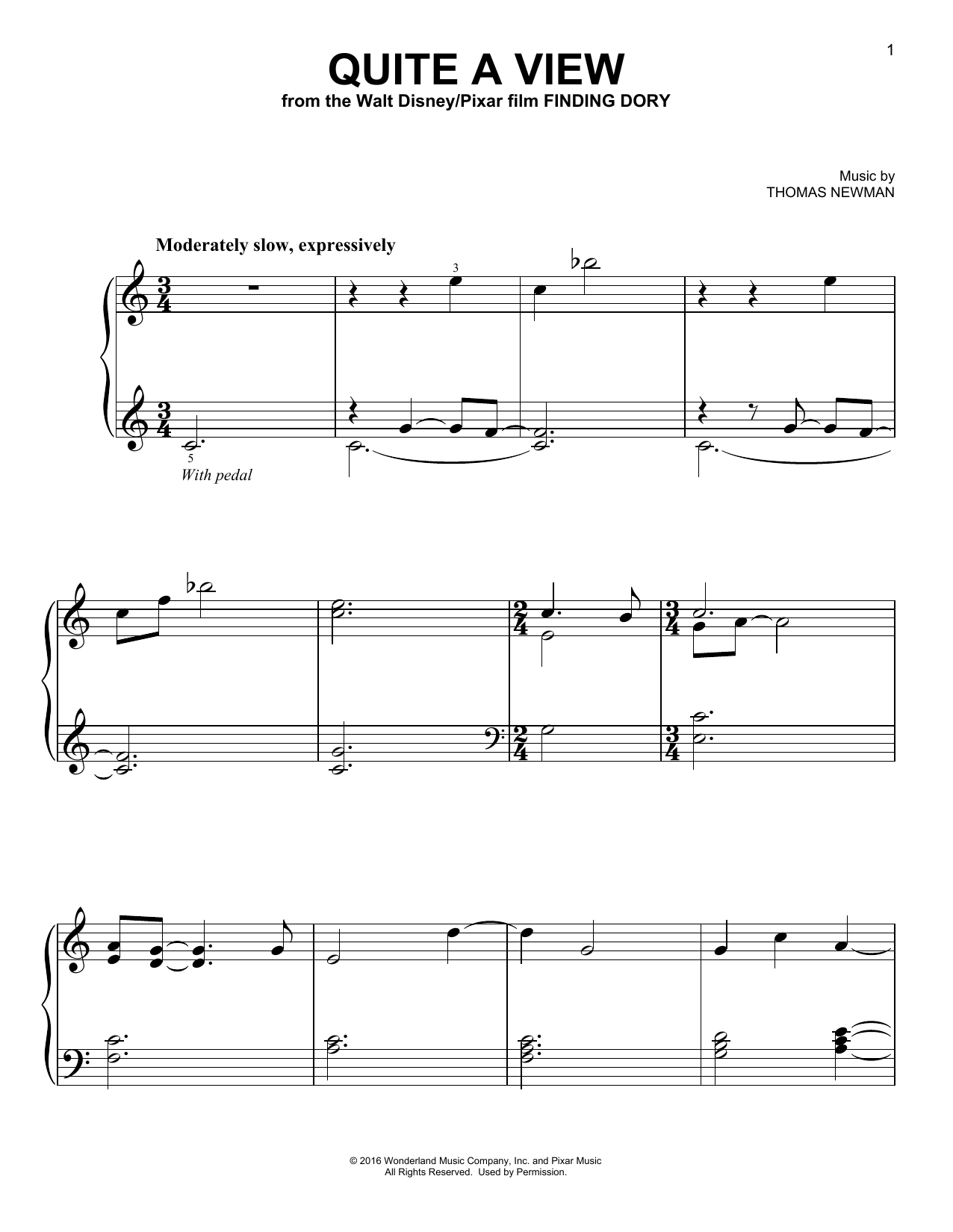 Download Thomas Newman 'Quite A View' Digital Sheet Music Notes & Chords and start playing in minutes