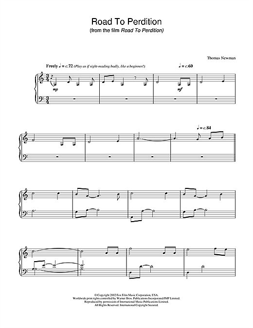 Download Thomas Newman 'Road To Perdition' Digital Sheet Music Notes & Chords and start playing in minutes