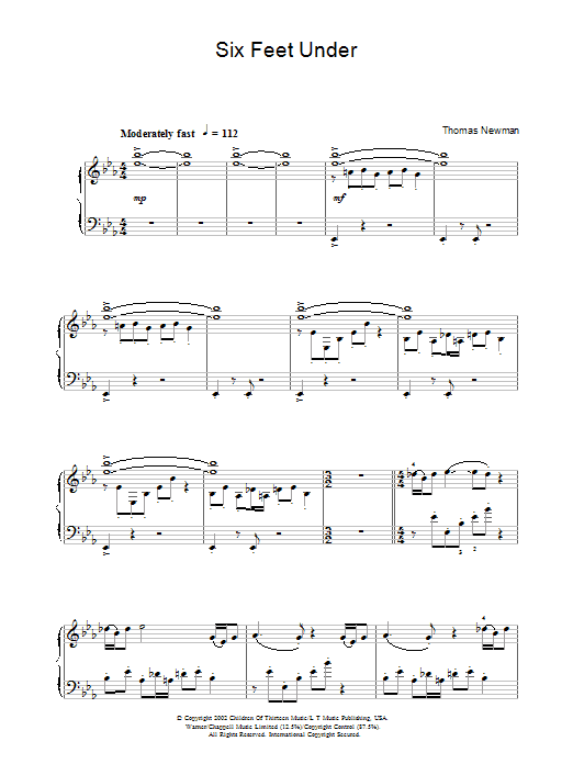 Thomas Newman Theme from Six Feet Under sheet music preview music notes and score for Piano including 2 page(s)