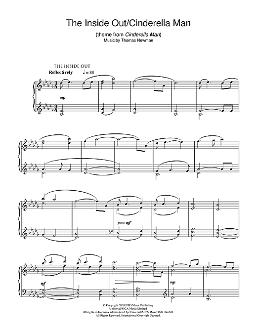 Download Thomas Newman 'The Inside Out/Cinderella Man (theme from Cinderella Man)' Digital Sheet Music Notes & Chords and start playing in minutes