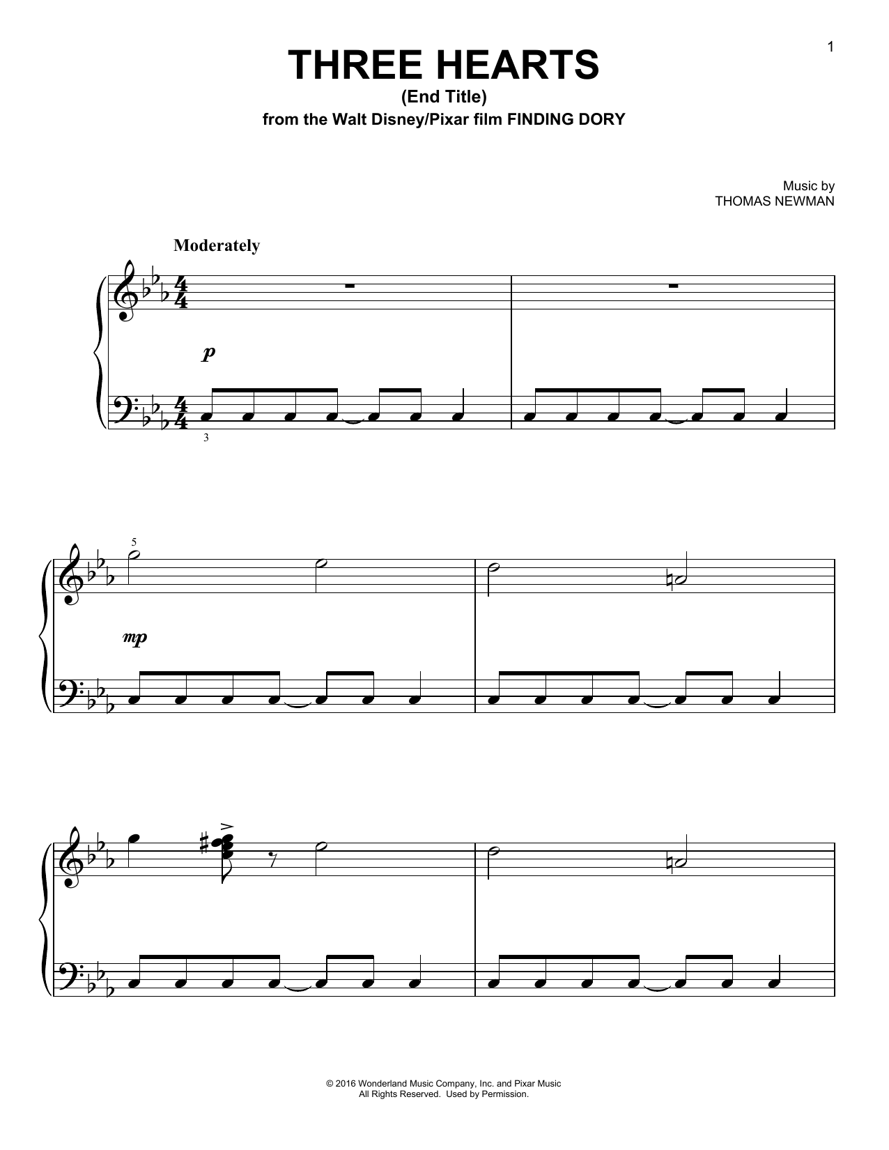 Download Thomas Newman 'Three Hearts (End Title)' Digital Sheet Music Notes & Chords and start playing in minutes