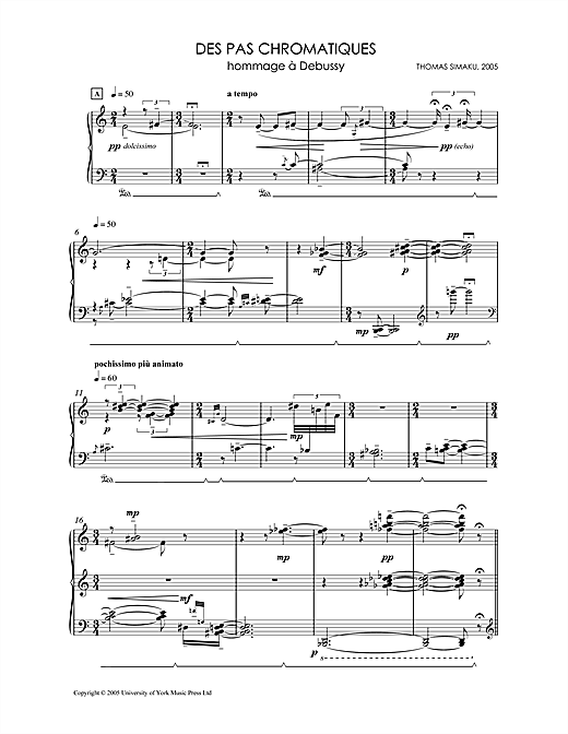 Download Thomas Simaku 'Des Pas Chromatiques - Hommage A Debussy' Digital Sheet Music Notes & Chords and start playing in minutes