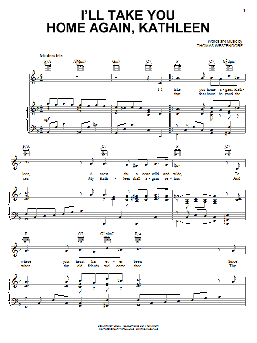 Thomas Westendorf I'll Take You Home Again, Kathleen sheet music notes and chords