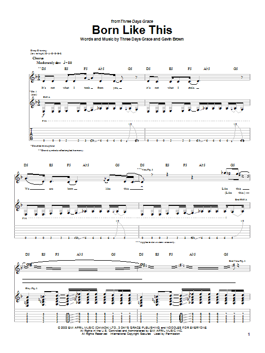 Three Days Grace Born Like This sheet music preview music notes and score for Guitar Tab including 4 page(s)