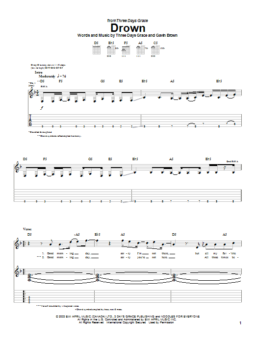 Three Days Grace Drown sheet music preview music notes and score for Guitar Tab including 5 page(s)