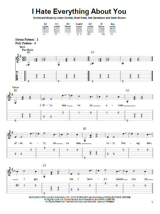 Three Days Grace I Hate Everything About You sheet music preview music notes and score for Easy Guitar Tab including 5 page(s)