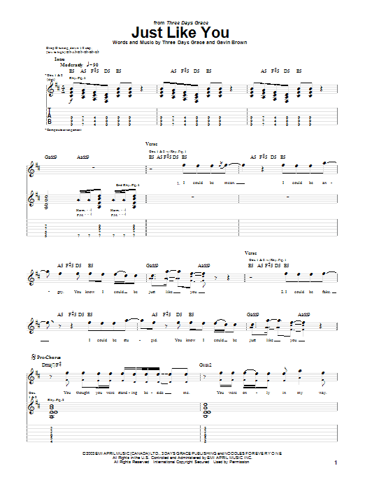 Three Days Grace Just Like You sheet music preview music notes and score for Guitar Tab including 5 page(s)