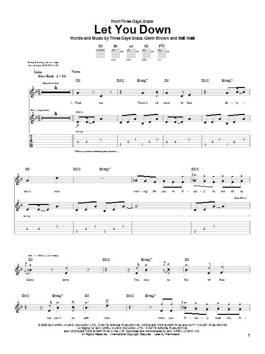 Three Days Grace Let You Down sheet music preview music notes and score for Guitar Tab including 7 page(s)