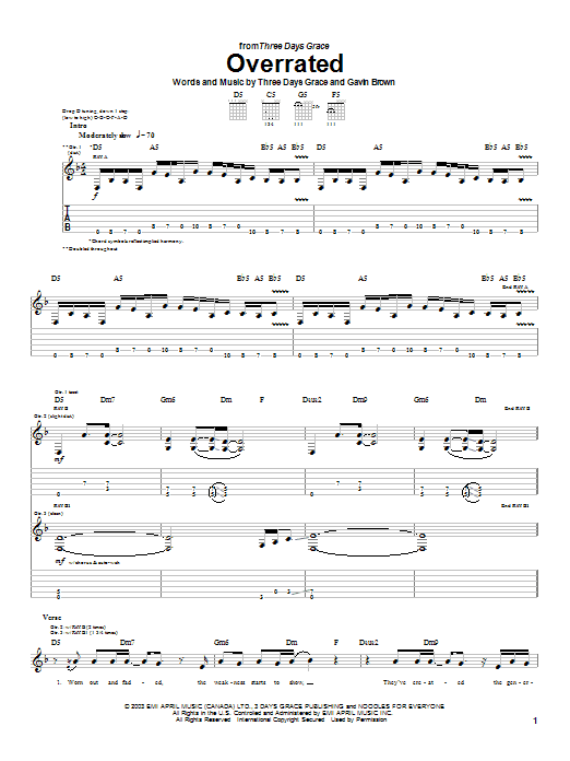 Three Days Grace Overrated sheet music preview music notes and score for Guitar Tab including 4 page(s)