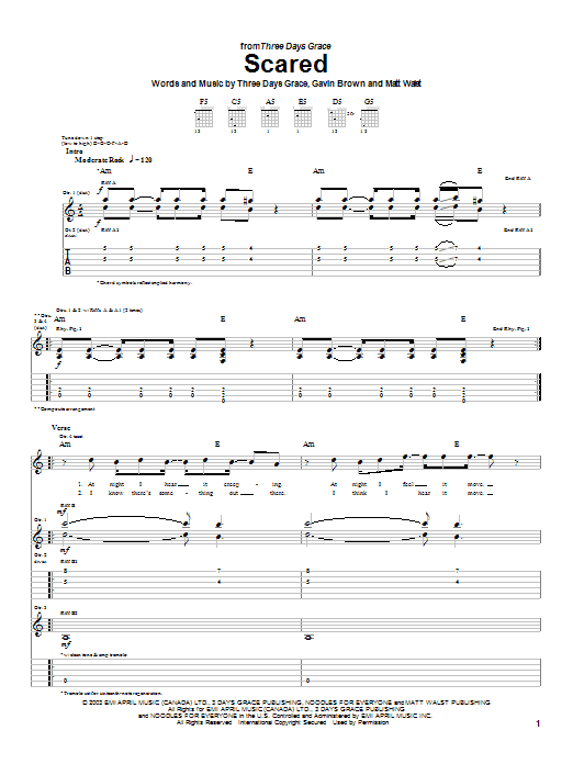 Three Days Grace Scared sheet music preview music notes and score for Guitar Tab including 5 page(s)