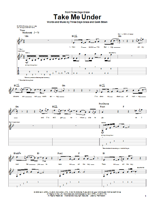 Three Days Grace Take Me Under sheet music preview music notes and score for Guitar Tab including 5 page(s)