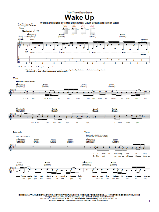 Three Days Grace Wake Up sheet music preview music notes and score for Guitar Tab including 5 page(s)