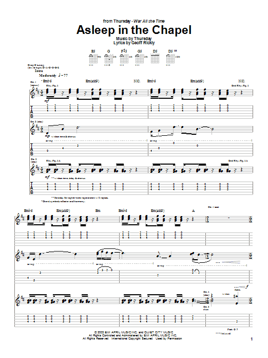 Thursday Asleep In The Chapel sheet music preview music notes and score for Guitar Tab including 12 page(s)
