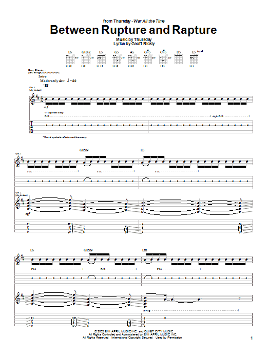 Thursday Between Rupture And Rapture sheet music preview music notes and score for Guitar Tab including 12 page(s)
