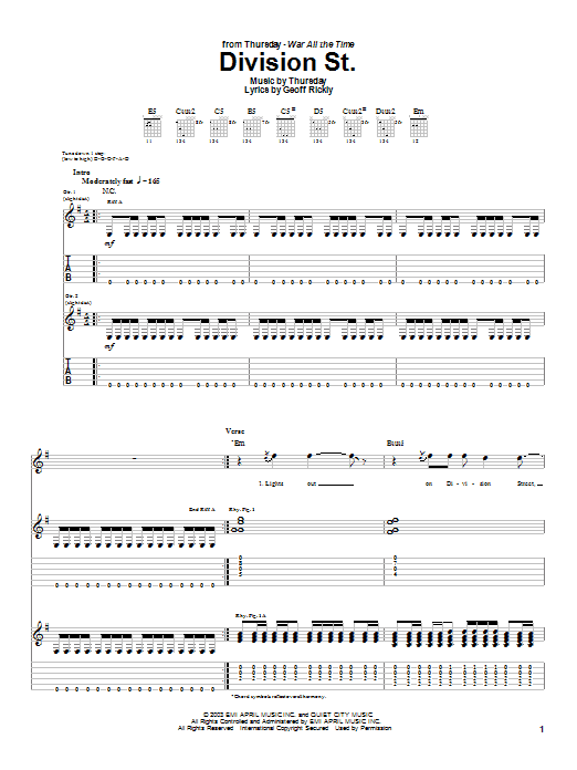 Thursday Division St. sheet music preview music notes and score for Guitar Tab including 12 page(s)