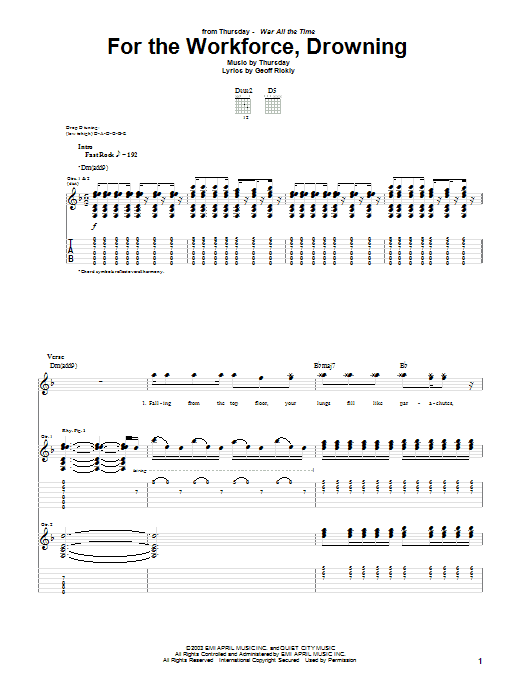 Thursday For The Workforce, Drowning sheet music preview music notes and score for Guitar Tab including 12 page(s)