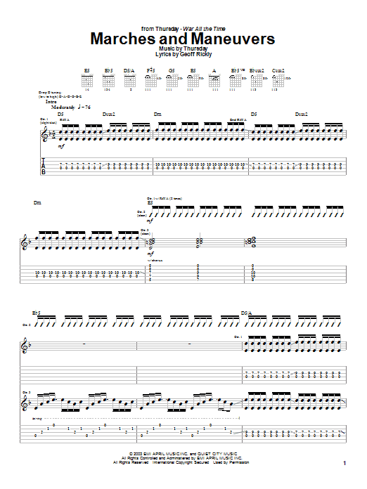 Thursday Marches And Maneuvers sheet music preview music notes and score for Guitar Tab including 11 page(s)