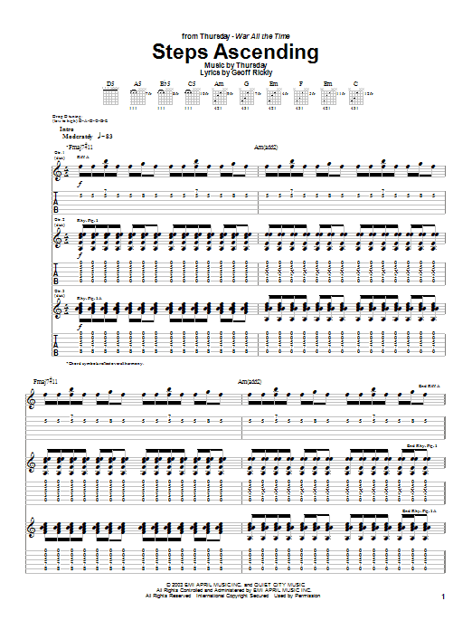 Thursday Steps Ascending sheet music preview music notes and score for Guitar Tab including 11 page(s)