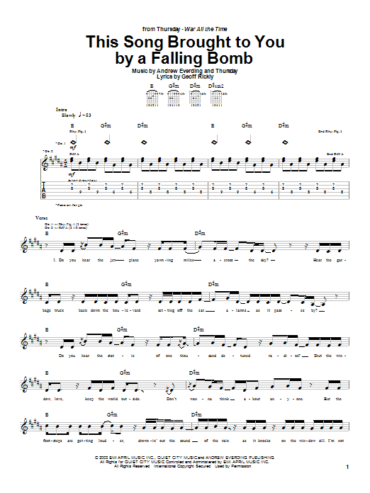 Thursday This Song Brought To You By A Falling Bomb sheet music preview music notes and score for Guitar Tab including 2 page(s)