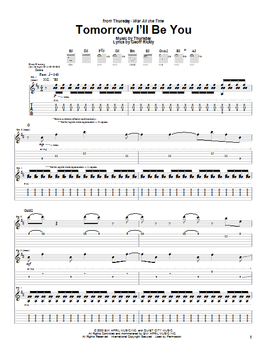 Thursday Tomorrow I'll Be You sheet music preview music notes and score for Guitar Tab including 12 page(s)