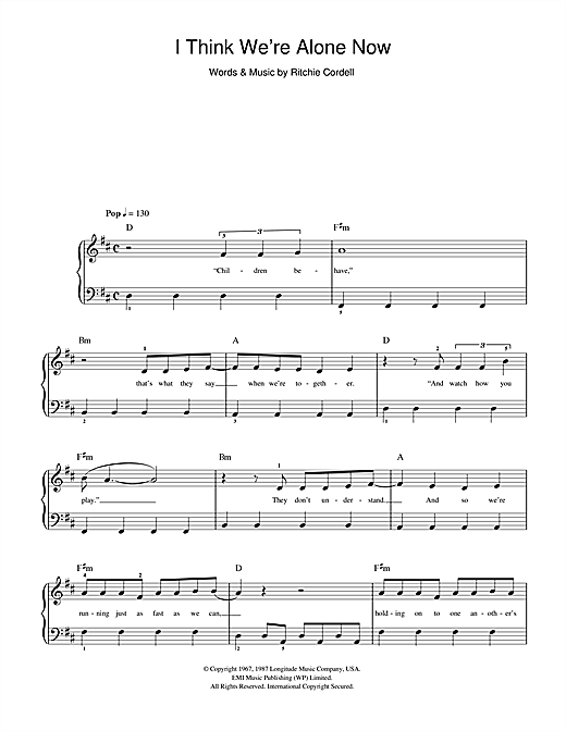 Tiffany I Think We're Alone Now sheet music preview music notes and score for E-Z Play Today including 3 page(s)