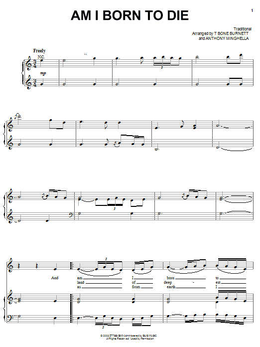 Tim Eriksen Am I Born To Die sheet music preview music notes and score for Piano, Vocal & Guitar (Right-Hand Melody) including 2 page(s)