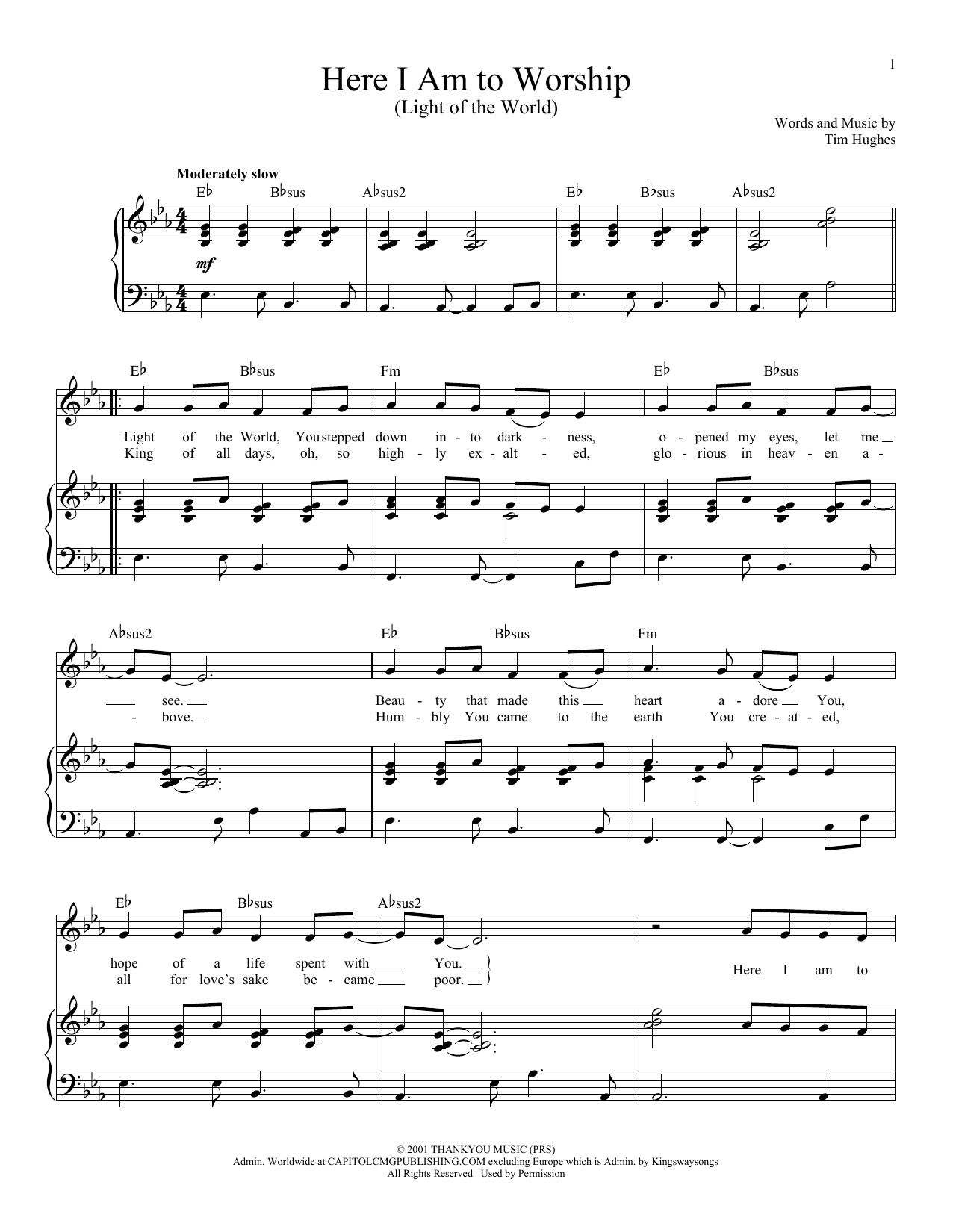 Download Tim Hughes 'Here I Am To Worship (Light Of The World)' Digital Sheet Music Notes & Chords and start playing in minutes