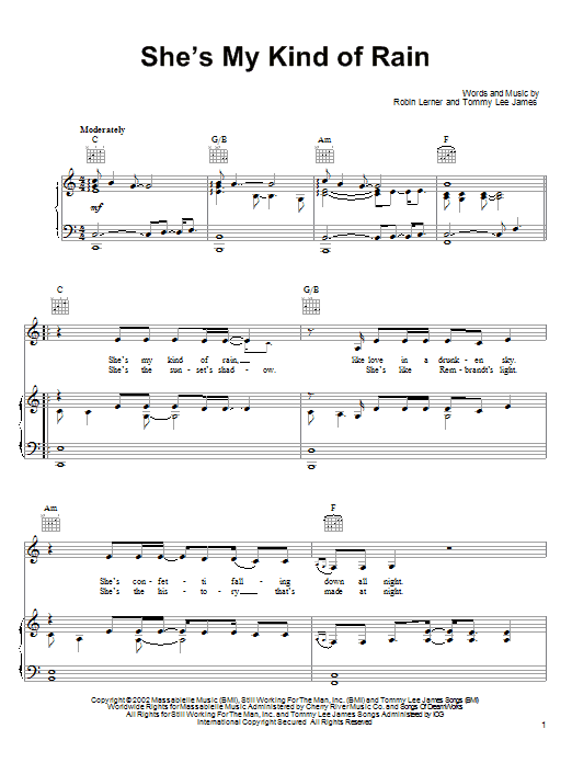 Tim McGraw She's My Kind Of Rain sheet music notes and chords