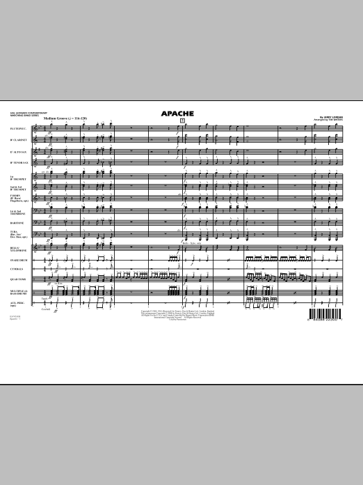 Download Tim Waters 'Apache - Full Score' Digital Sheet Music Notes & Chords and start playing in minutes