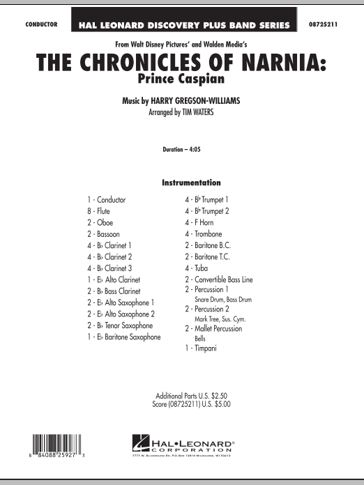 Download Tim Waters 'The Chronicles Of Narnia: Prince Caspian - Full Score' Digital Sheet Music Notes & Chords and start playing in minutes