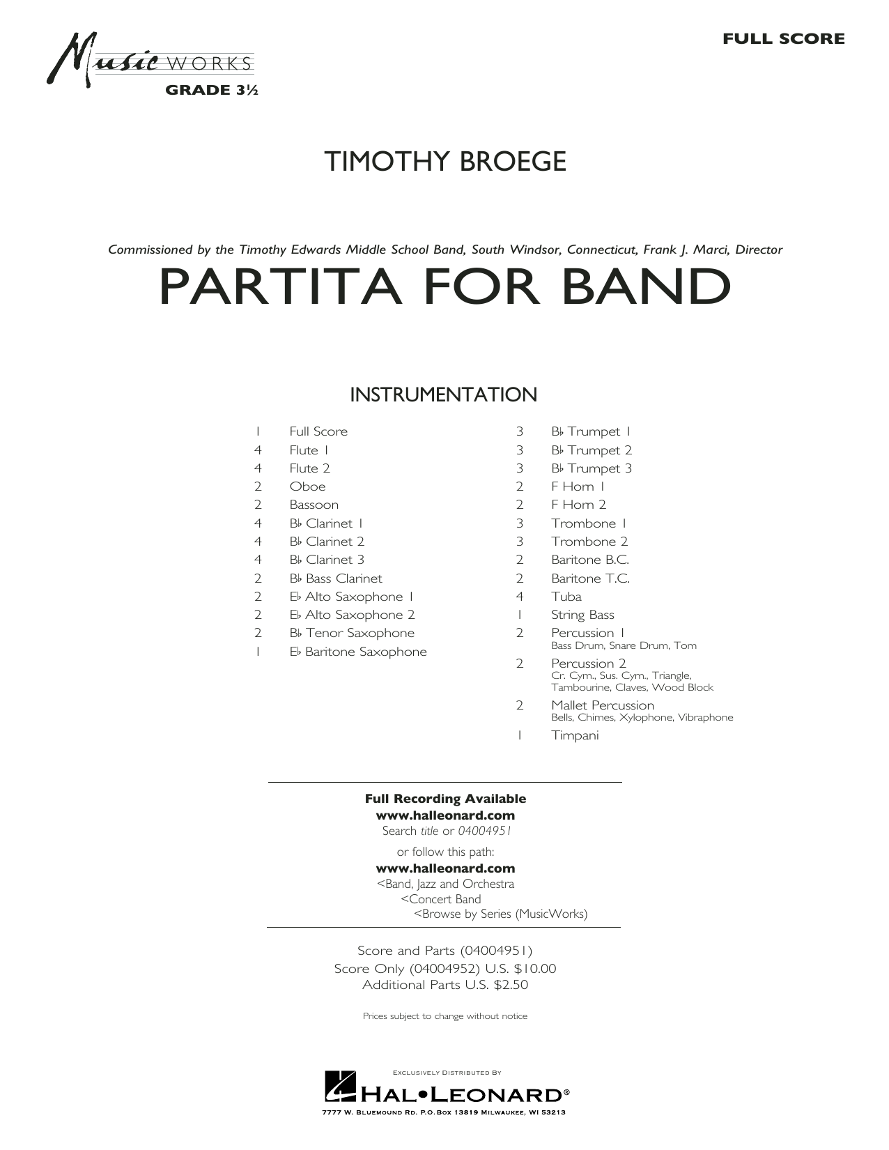 Timothy Broege Partita for Band - Conductor Score (Full Score) sheet music preview music notes and score for Concert Band including 36 page(s)