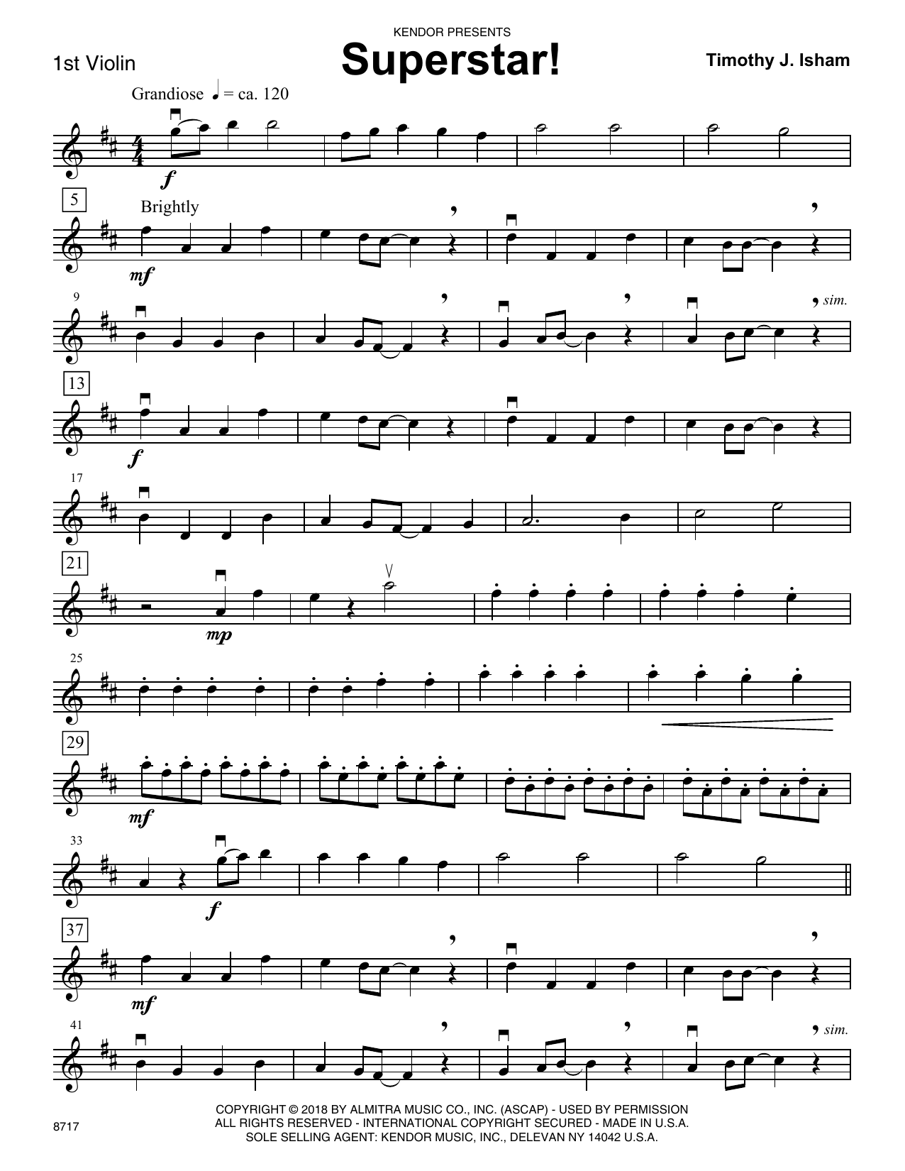 Timothy J. Isham Superstar! - 1st Violin sheet music preview music notes and score for Orchestra including 2 page(s)