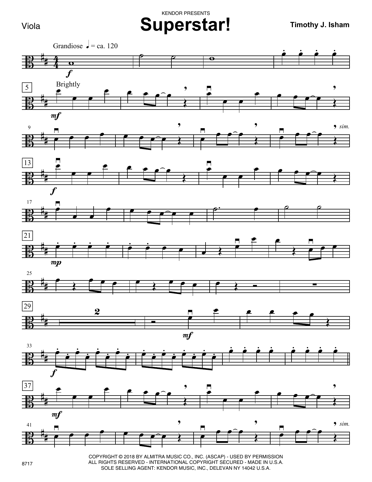 Timothy J. Isham Superstar! - Viola sheet music preview music notes and score for Orchestra including 2 page(s)