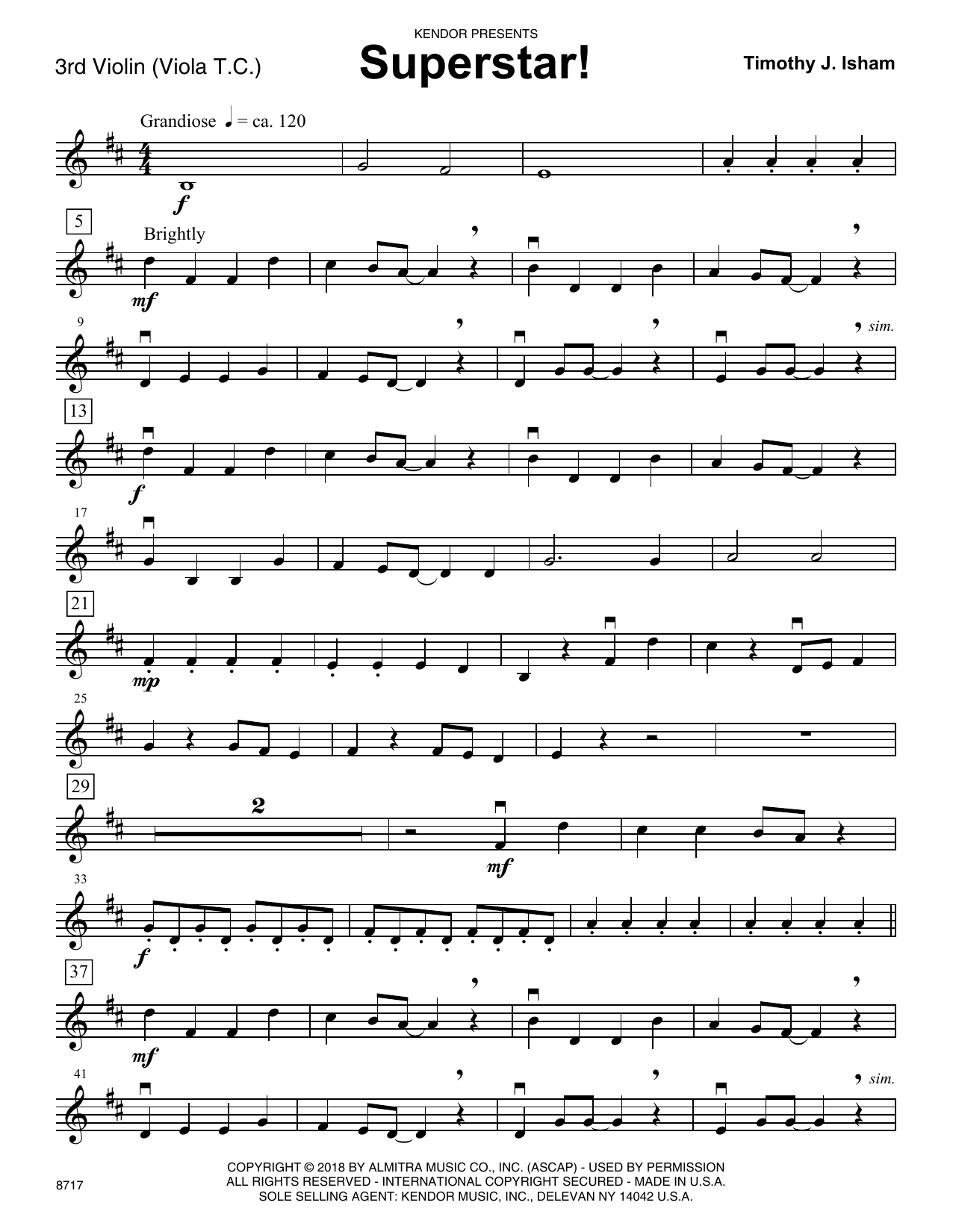 Timothy J. Isham Superstar! - Violin 3 (Viola T.C.) sheet music preview music notes and score for Orchestra including 2 page(s)