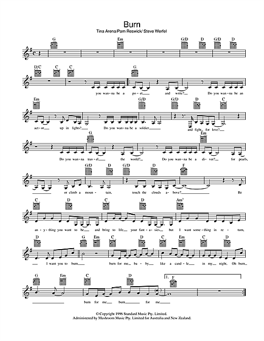 Tina Arena Burn sheet music preview music notes and score for Melody Line, Lyrics & Chords including 2 page(s)