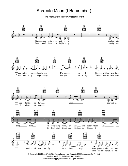 Tina Arena Sorrento Moon (I Remember) sheet music preview music notes and score for Melody Line, Lyrics & Chords including 2 page(s)