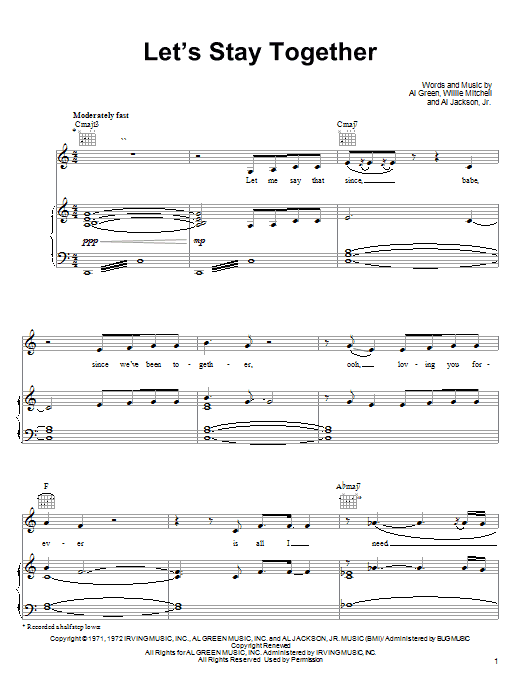 Tina Turner Let's Stay Together sheet music preview music notes and score for Piano, Vocal & Guitar (Right-Hand Melody) including 10 page(s)