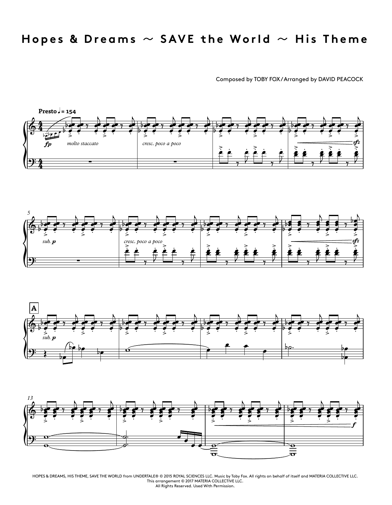 Toby Fox Hopes & Dreams - SAVE The World - His Theme (from Undertale Piano Collections) (arr. David Peacock) sheet music preview music notes and score for Piano Solo including 12 page(s)