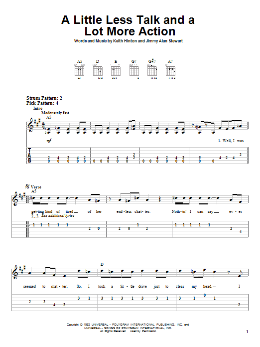Toby Keith A Little Less Talk And A Lot More Action sheet music preview music notes and score for Piano, Vocal & Guitar (Right-Hand Melody) including 6 page(s)