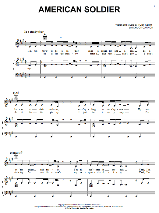 Toby Keith American Soldier sheet music preview music notes and score for Piano, Vocal & Guitar (Right-Hand Melody) including 7 page(s)