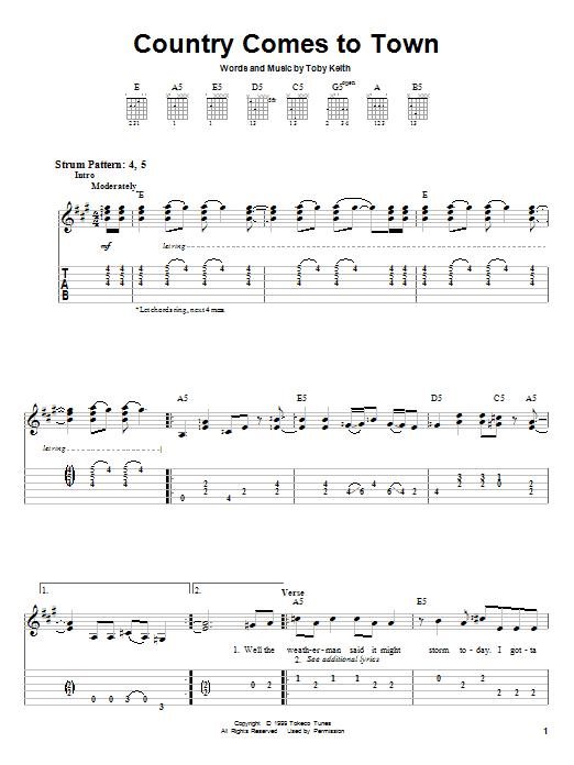 Toby Keith Country Comes To Town sheet music preview music notes and score for Easy Guitar Tab including 4 page(s)