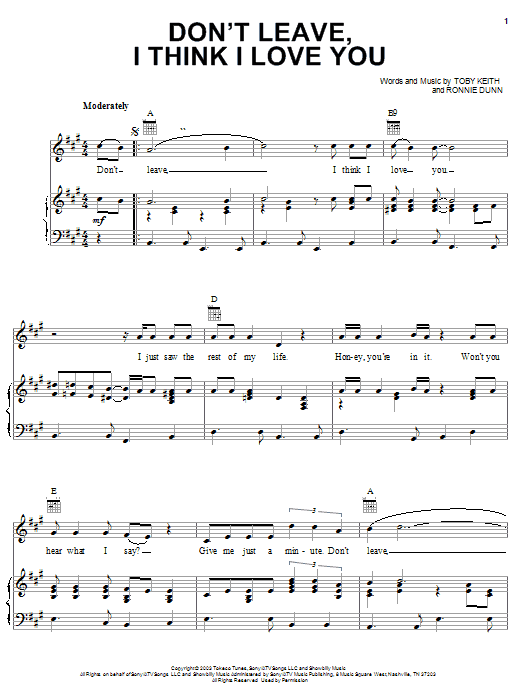 Toby Keith Don't Leave, I Think I Love You sheet music preview music notes and score for Piano, Vocal & Guitar (Right-Hand Melody) including 5 page(s)