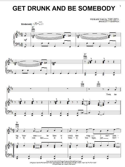 Toby Keith Get Drunk And Be Somebody sheet music preview music notes and score for Piano, Vocal & Guitar (Right-Hand Melody) including 6 page(s)