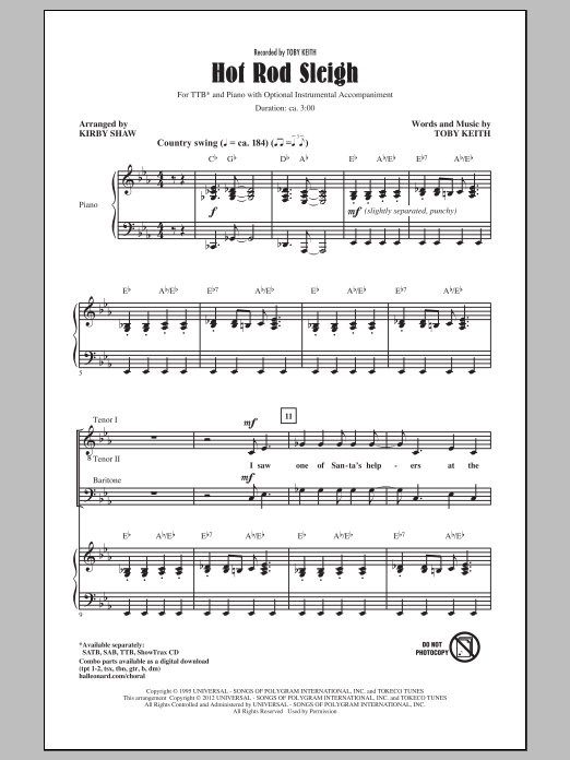 Toby Keith Hot Rod Sleigh (arr. Kirby Shaw) sheet music preview music notes and score for SATB including 12 page(s)