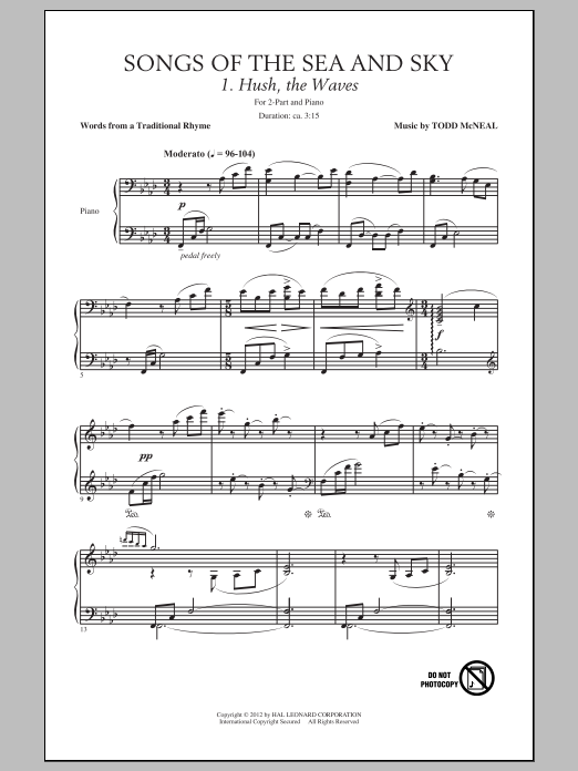 Todd McNeal Songs Of The Sea And Sky sheet music preview music notes and score for 2-Part Choir including 7 page(s)