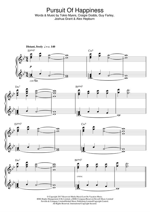Tokio Myers Pursuit Of Happiness sheet music preview music notes and score for Piano including 8 page(s)