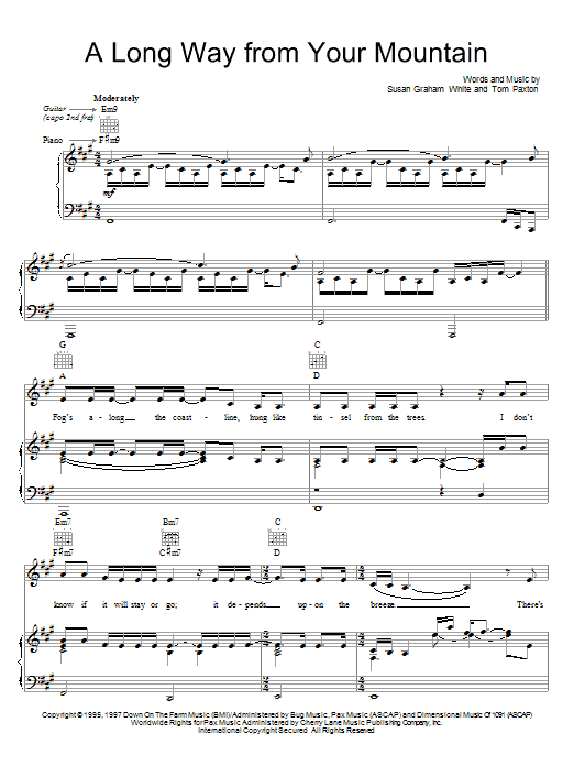 Tom Paxton A Long Way From Your Mountain sheet music preview music notes and score for Piano, Vocal & Guitar (Right-Hand Melody) including 5 page(s)
