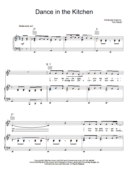 Tom Paxton Dance In The Kitchen sheet music preview music notes and score for Piano, Vocal & Guitar (Right-Hand Melody) including 4 page(s)