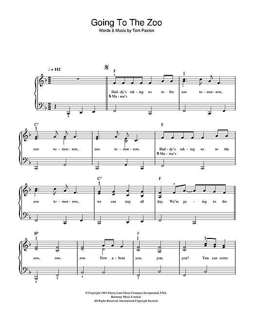Tom Paxton Going To The Zoo sheet music preview music notes and score for Easy Piano including 3 page(s)